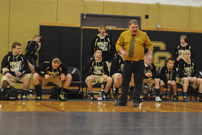 Canon City's bench reacts during the Tigers' dual against Pueblo South on Thursday, Jan. 17, 2013. Brandon Hopper/Daily Record