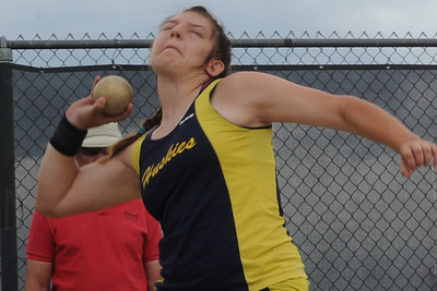 Huskies sophomore Makenna Green competes in the shot put on Saturday at the Class 3A state track and field meet at Jeffco Stadium in Lakewood. Brandon Hopper/Daily Record