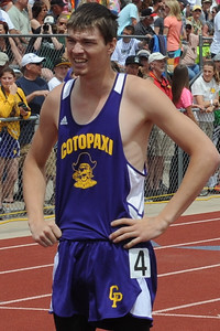 Cotopaxi senior Denver Acres after the 400-meter run on Saturday at the Class 1A state track and field meet at Jeffco Stadium in Lakewood. Brandon Hopper/Daily Record