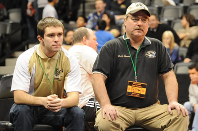 Tigers coaches Nick Grooms, left, and Duff Seaney on Thursday at the Class 4A state wrestling tournament at Pepsi Center in Denver. Brandon Hopper/Daily Record