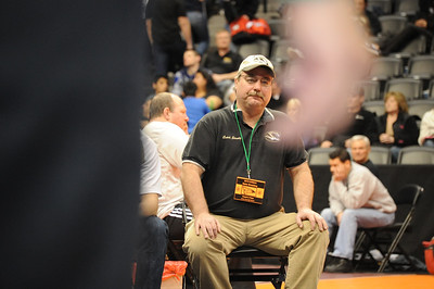 Tigers coach Duff Seaney on Thursday at the Class 4A state wrestling tournament at Pepsi Center in Denver. Brandon Hopper/Daily Record