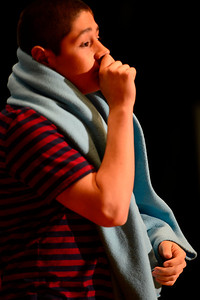 "Florence High School actor Preston Sandoval rehearses a scene from their upcoming play ""You're a Good Man, Charlie Brown"" Tuesday at the school. Jeff Shane/ Daily Record"