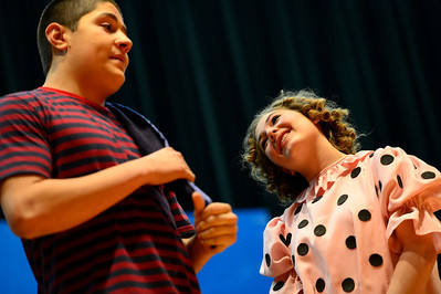 "Florence High School actors Preston Sandoval, left, and Brianon Burke rehearse a scene from their upcoming play ""You're a Good Man, Charlie Brown"" Tuesday at the school. Jeff Shane/ Daily Record"