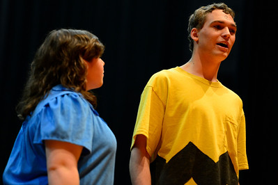 "Florence High School actors Christian Monett, right, and Erin Espinosa rehearse a scene from their upcoming play ""You're a Good Man, Charlie Brown"" Tuesday at the school. Jeff Shane/ Daily Record"