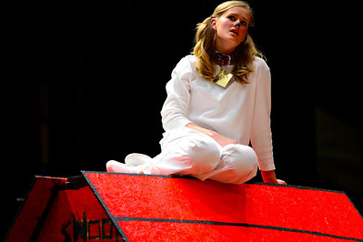 "Florence High School actor Ester Packard rehearses a scene from their upcoming play ""You're a Good Man, Charlie Brown"" Tuesday at the school. Jeff Shane/ Daily Record"