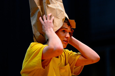 "Florence High School actor Christian Monett rehearses a scene from their upcoming play ""You're a Good Man, Charlie Brown"" Tuesday at the school. Jeff Shane/ Daily Record"