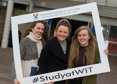 05/04/2016. Waterford Institute of Technology (WIT) CAO Information Evening are Aoife Deane, Seána Clifford and Natashia Drought from Roscrea. Picture: Patrick Browne  Prospective students travelled from far and wide to the Waterford Institute of Technology (WIT) CAO Information Evening on Tuesday 5 April to hear in detail about the brand new WIT President's Scholarship Programme worth up to €12,000 a year for five students. For September 2016, WIT is offering an exciting new scholarship scheme which encourages and rewards young people who show a capacity to shape a better society. WIT has 70 CAO courses. Details are available at www.wit.ie/caoscholarship