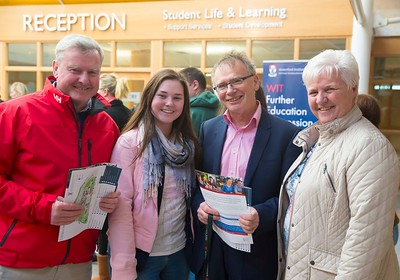 05/04/2016. Waterford Institute of Technology (WIT) CAO Information Evening are Tom, Catherina and Catherine Flavely from Douglas, Cork with (2nd from right) Prof Willie Donnelly, President WIT. Picture: Patrick Browne  Prospective students travelled from far and wide to the Waterford Institute of Technology (WIT) CAO Information Evening on Tuesday 5 April to hear in detail about the brand new WIT President's Scholarship Programme worth up to €12,000 a year for five students. For September 2016, WIT is offering an exciting new scholarship scheme which encourages and rewards young people who show a capacity to shape a better society. WIT has 70 CAO courses. Details are available at www.wit.ie/caoscholarship