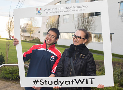 05/04/2016. Waterford Institute of Technology (WIT) CAO Information Evening are Darryl Louis WIT Student Ambassador with Andreea Ancuta from Kilkenny. Picture: Patrick Browne  Prospective students travelled from far and wide to the Waterford Institute of Technology (WIT) CAO Information Evening on Tuesday 5 April to hear in detail about the brand new WIT President's Scholarship Programme worth up to €12,000 a year for five students. For September 2016, WIT is offering an exciting new scholarship scheme which encourages and rewards young people who show a capacity to shape a better society. WIT has 70 CAO courses. Details are available at www.wit.ie/caoscholarship
