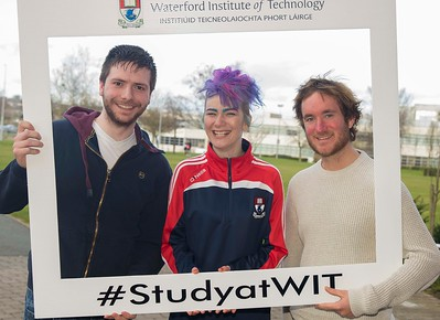 05/04/2016. Waterford Institute of Technology (WIT) CAO Information Evening are Kieth Maher, Clonmel, Natashia Everett WIT Student Ambassador and Colm Nolan, Clonmel. Picture: Patrick Browne  Prospective students travelled from far and wide to the Waterford Institute of Technology (WIT) CAO Information Evening on Tuesday 5 April to hear in detail about the brand new WIT President's Scholarship Programme worth up to €12,000 a year for five students. For September 2016, WIT is offering an exciting new scholarship scheme which encourages and rewards young people who show a capacity to shape a better society. WIT has 70 CAO courses. Details are available at www.wit.ie/caoscholarship