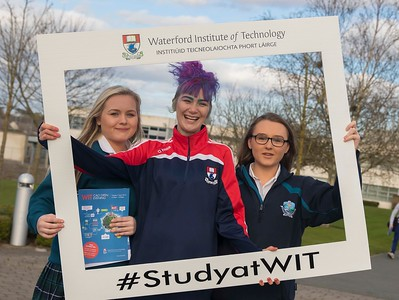 05/04/2016. Waterford Institute of Technology (WIT) CAO Information Evening are Saoirse Clancy, Tramore, Natashia Everett WIT Student Ambassador and Amy Higgins Tramore. Picture: Patrick Browne  Prospective students travelled from far and wide to the Waterford Institute of Technology (WIT) CAO Information Evening on Tuesday 5 April to hear in detail about the brand new WIT President's Scholarship Programme worth up to €12,000 a year for five students. For September 2016, WIT is offering an exciting new scholarship scheme which encourages and rewards young people who show a capacity to shape a better society. WIT has 70 CAO courses. Details are available at www.wit.ie/caoscholarship