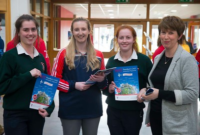 05/04/2016. Waterford Institute of Technology (WIT) CAO Information Evening are Sarah, Lis and Caroline Connolly from Waterford with Katie Duggan, WIT Student Ambassador. Picture: Patrick Browne  Prospective students travelled from far and wide to the Waterford Institute of Technology (WIT) CAO Information Evening on Tuesday 5 April to hear in detail about the brand new WIT President's Scholarship Programme worth up to €12,000 a year for five students. For September 2016, WIT is offering an exciting new scholarship scheme which encourages and rewards young people who show a capacity to shape a better society. WIT has 70 CAO courses. Details are available at www.wit.ie/caoscholarship