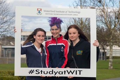 05/04/2016. Waterford Institute of Technology (WIT) CAO Information Evening are Katie Cunningham, Kilmuckridge Co. Wexford, Natashia Everett WIT Student Ambassador and Chloe Colfer, Barntown,  Wexford. Picture: Patrick Browne  Prospective students travelled from far and wide to the Waterford Institute of Technology (WIT) CAO Information Evening on Tuesday 5 April to hear in detail about the brand new WIT President's Scholarship Programme worth up to €12,000 a year for five students. For September 2016, WIT is offering an exciting new scholarship scheme which encourages and rewards young people who show a capacity to shape a better society. WIT has 70 CAO courses. Details are available at www.wit.ie/caoscholarship