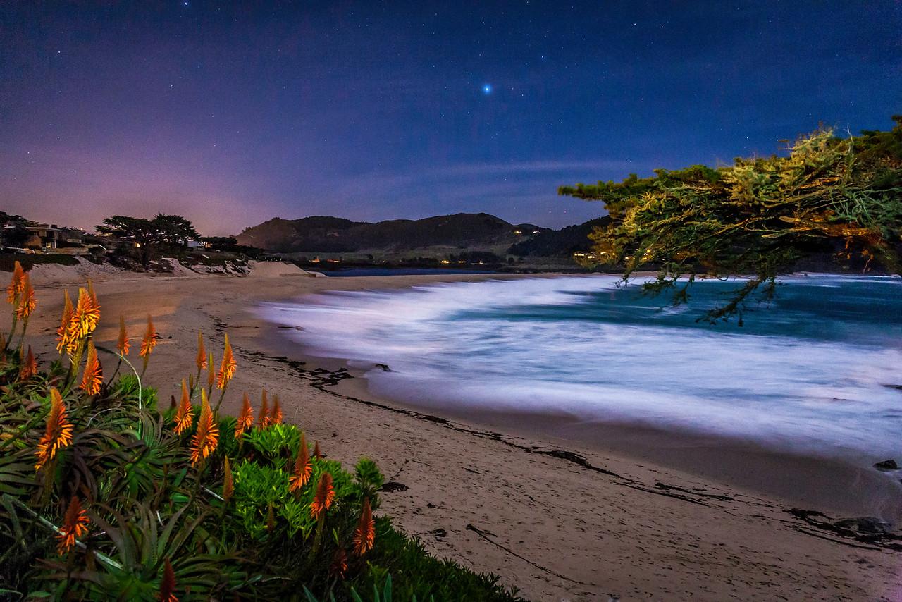 Carmel River beach at night