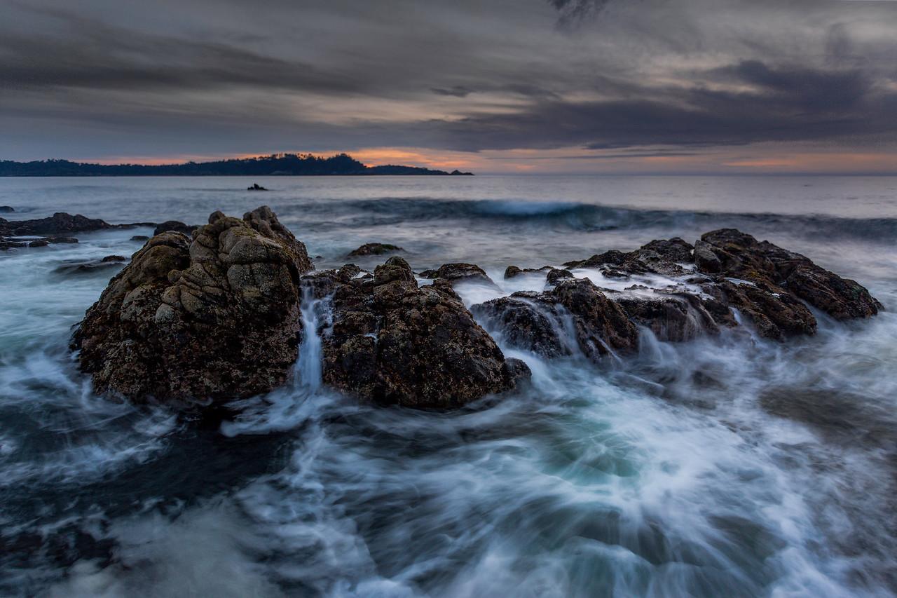 Pt Lobos seascape boil sunset