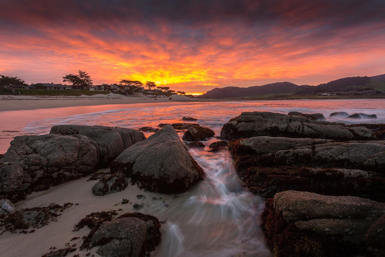 Sunrise seascape, Carmel River Beach