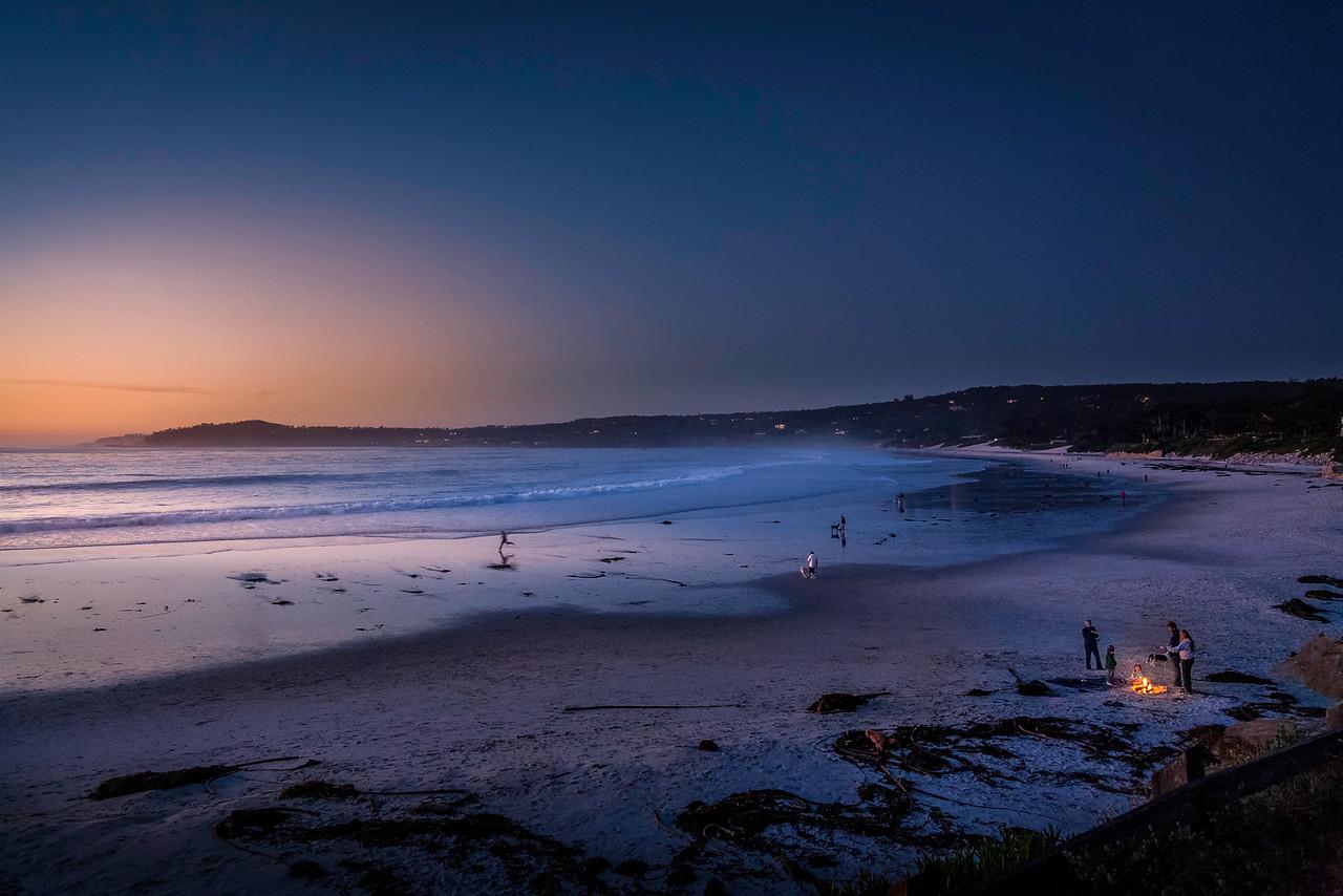 Carmel beach bonfire evening