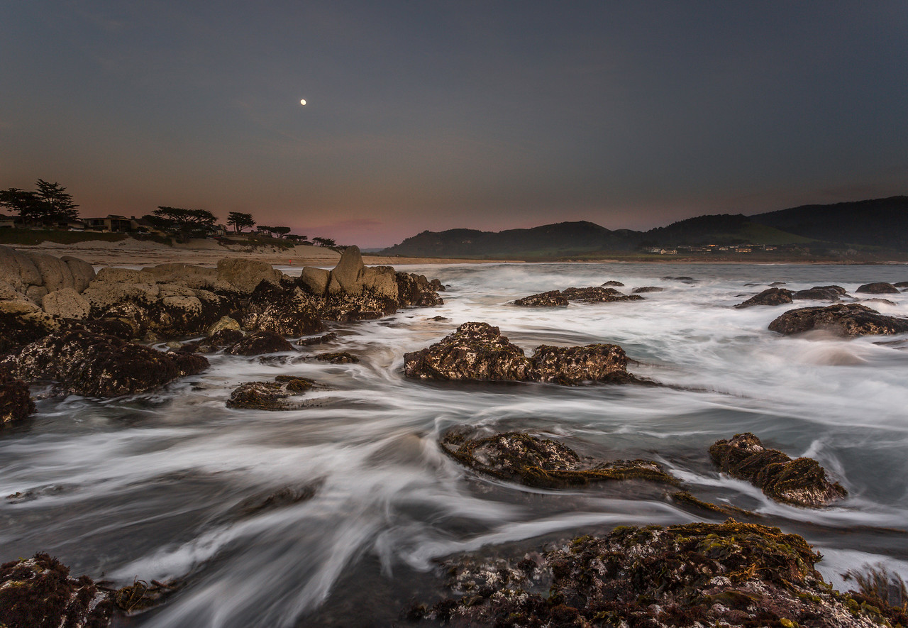 Carmel River beach seascape with moonrise