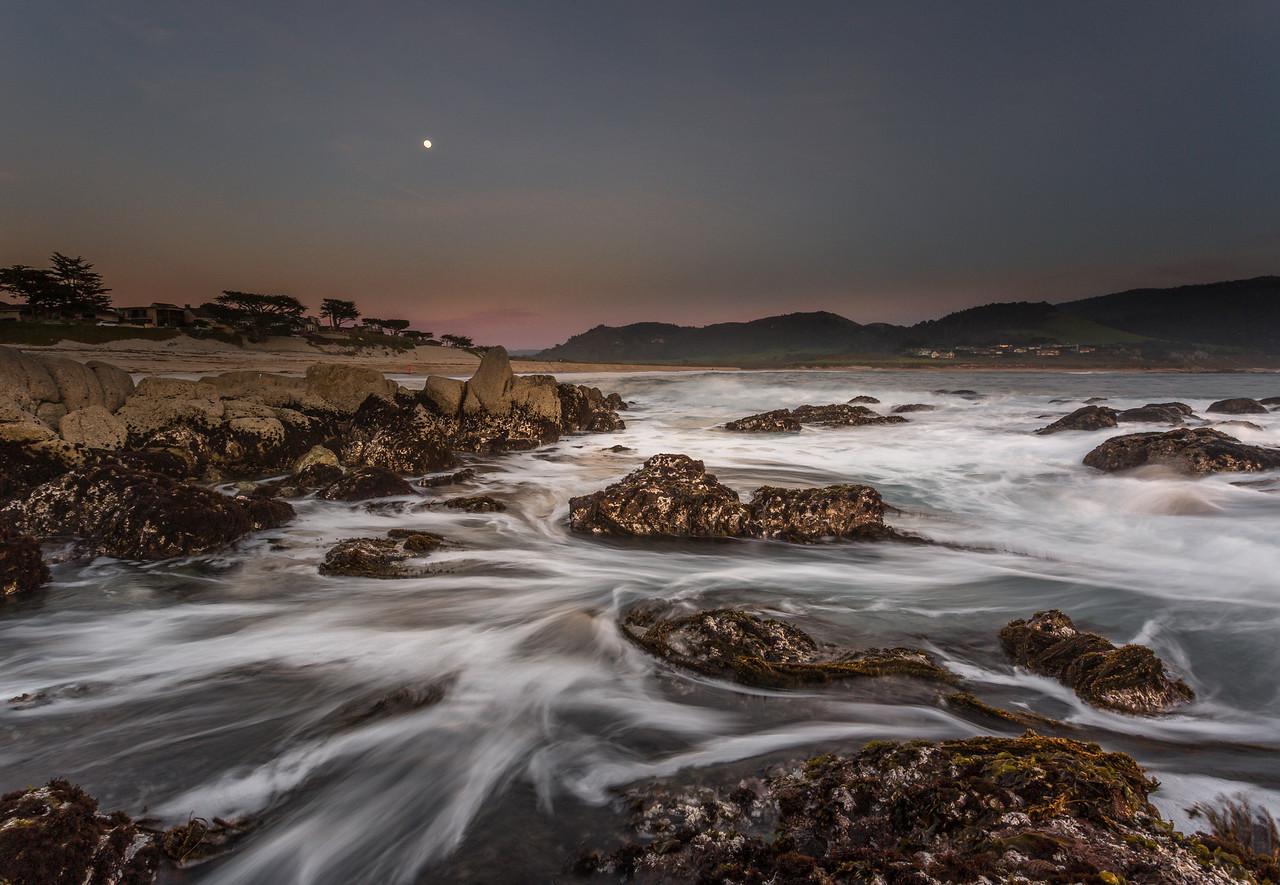 Carmel River beach seascape with moonrise