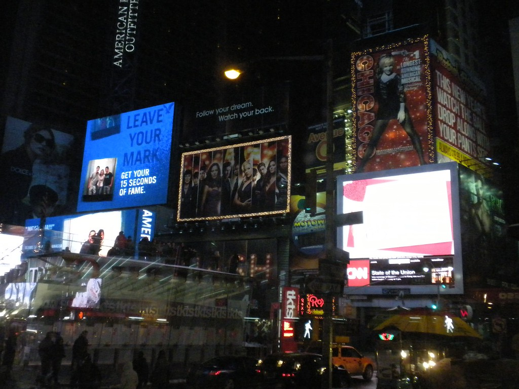 Time Square New York City on our way back from Carnegie Hall to Paul's after performance party on February 10, 2012