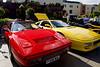 1987 Red Ferrari 328 GTS Turbo & 1989 Yellow Ferrari 348 TB, Greenwich, London.