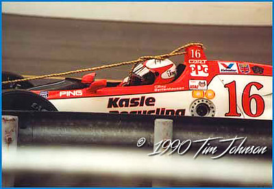 Tony Bettenhausen #16 gets a tow into the pits at 1990 Indy 500
