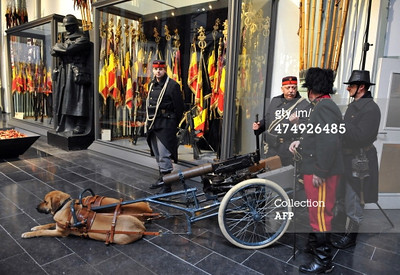 """A Belgian machine gun cart pulled by dogs with soldiers dressed in WW1 uniforms is displayed at the Royal Museum of the Army and Military History in Brussels on February 25, 2014. On the occasion of the centenary of the First World War the Royal Museum of the Army and Military History hosts a major exhibition on WW1 and daily life in Belgium occupied by the German army. AFP PHOTO/ GEORGES GOBET (Photo credit should read GEORGES GOBET/AFP/Getty Images)<br /> <br /> <a href=""""http://www.gettyimages.com/detail/news-photo/belgian-machine-gun-cart-pulled-by-dogs-with-soldiers-news-photo/474926485"""">http://www.gettyimages.com/detail/news-photo/belgian-machine-gun-cart-pulled-by-dogs-with-soldiers-news-photo/474926485</a>"""