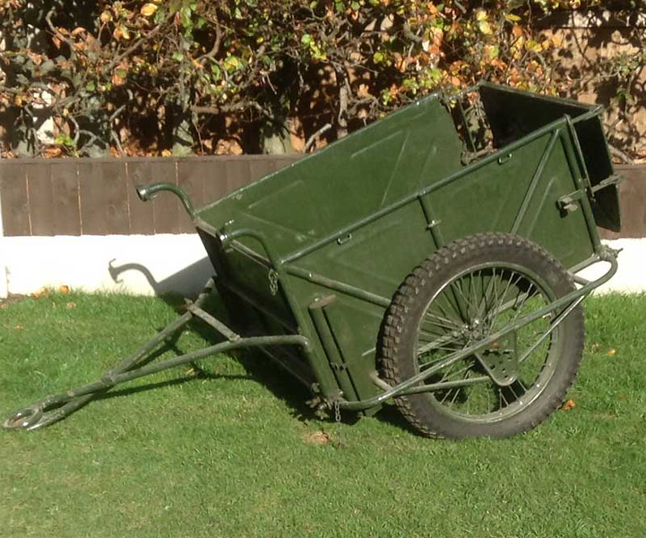 Due to other projects I have decided to sell my original WW2 British Airborne Folding Handcart, believed to have been made by James Motorcycles. It comes complete with the original rare Mule Bars (which are normally missing)  that enable the cart to be pulled by a Mule.<br />  <br /> It would benefit from a repaint; however I have always liked it as is. Condition is as pictured, all metal work is original and there is some corrosion to the bottom of the tool box.<br />  <br /> It has modern tyres fitted; I do have the original WD Tyres that came with it although they are un-serviceable.<br />  <br /> It is located in Cannock Staffordshire, but I can bring to Malvern or Stoneleigh.<br />  <br /> £2175.