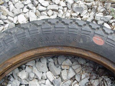 "4.00 X 18 ""<br /> <br /> TYPICALLY FOUND ON HARLEY'S<br /> <br /> Firestone Sportsman tires."