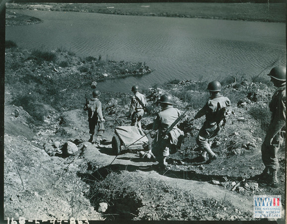 """Signal Corp US Army Photo<br /> Posted by this website.<br /> <br /> <a href=""""http://ww2online.org/image/81st-infantry-division-soldiers-using-hand-cart-walk-munitions-downhill-san-luis-obispo"""">http://ww2online.org/image/81st-infantry-division-soldiers-using-hand-cart-walk-munitions-downhill-san-luis-obispo</a>"""