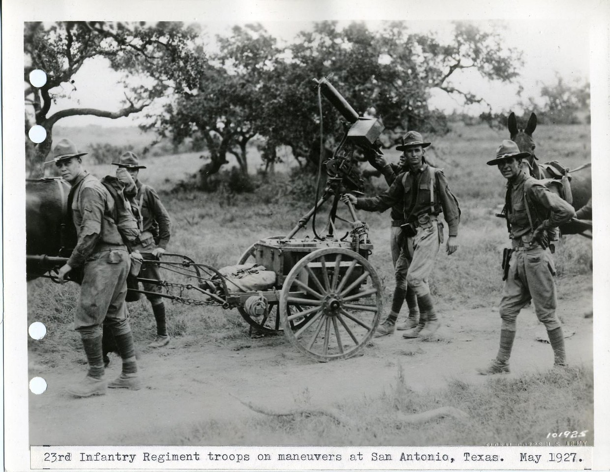 23rd Infantry Regiment troops on maneuvers at San Antonio, Texas. <br /> <br /> May 1927<br /> <br /> No. 101925<br /> <br /> Dr. 38-A San Antonio<br /> <br /> 6x8 Neg.  File Copy<br /> <br /> Original photo (Craig Johnson Collection)