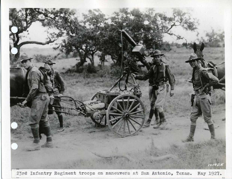 23rd Infantry Regiment troops on maneuvers at San Antonio, Texas. <br /> <br /> May 1927<br /> <br /> No. 101925<br /> <br /> Dr. 38-A San Antonio<br /> <br /> 6x8 Neg.  File Copy<br /> <br /> Original photo (Craig Johnson Collection)