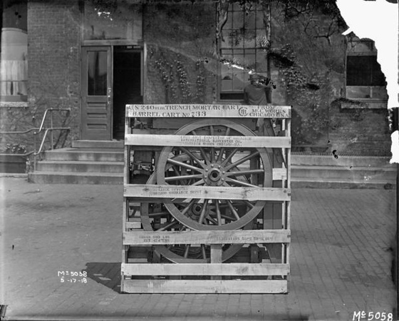 "Title:  Boxed Artillery Cart Ready for Shipment <br /> <br /> Description:  Boxed 240 mm mortar cart ready for shipment to the U.S. military from International Harvester's McCormick Works.<br /> <br /> Image ID:  9231 <br /> Creation Date:  May 17, 1918<br /> <br />  <a href=""http://www.wisconsinhistory.org/"">http://www.wisconsinhistory.org/</a>"