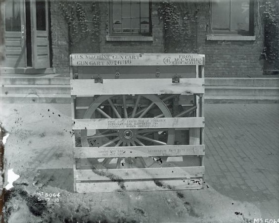 "Title:  Crated Machine Gun Cart <br /> <br /> Description:  Crated ""U.S. Machine Gun Cart"" outside International Harvester's McCormick Works.<br /> <br /> Image ID:  46988 <br /> Creation Date:  May 17, 1918<br /> <br />  <a href=""http://www.wisconsinhistory.org/"">http://www.wisconsinhistory.org/</a>"