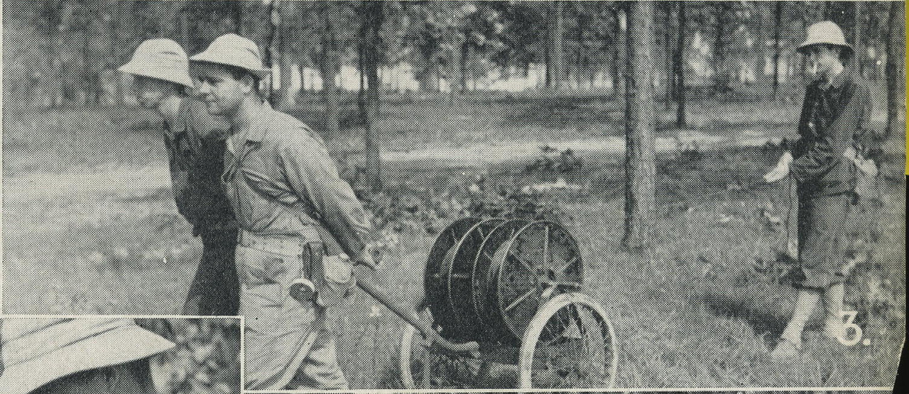 RL-16 CABLE REEL CART<br /> <br /> 3. (CAPTION) LAYING WIRE<br /> <br /> HEADQUARTERS COMPANY 150th INFANTRY (R) <br /> <br /> 1941 CAMP SHELBY 38th DIVISION <br /> <br /> PICTORIAL HISTORY<br /> <br /> (SCANNED FROM BOOK)<br /> <br /> (CRAIG JOHNSON COLLECTION)