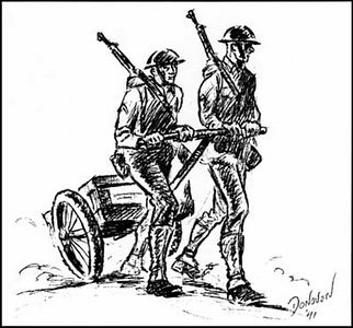 Handy items in the prewar Fleet Marine Force were Cole carts, used to carry such weapons as heavy machine guns and their tripods, 81mm mortars and their base plates, and ammunition for all the weapons in the infantry battalion. Sketch by Col James A. Donovan, USMC (Ret), Marine Corps Art Collection