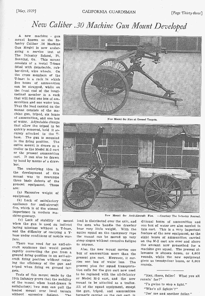CALIFORNIA GUARDSMAN ARTICLE ON M2 MACHINE GUN MOUNT<br /> <br /> (CRAIG JOHNSON COLLECTION)