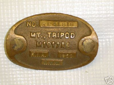 MT TRIPOD <br /> <br /> M1917A2  1950<br /> <br /> THE LEGS OF TRIPOD WOULD BE SHORTENED FOR THE  RECOILLES RIFLE