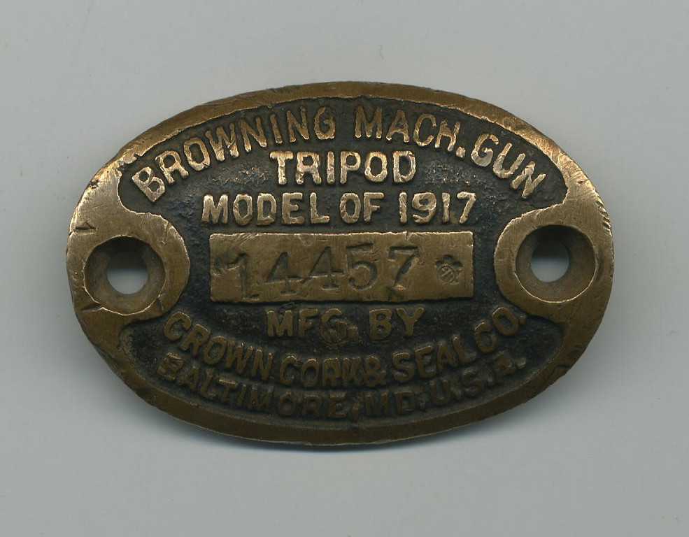BROWNING MACHINE GUN TRIPOD<br /> <br /> MODEL OF 1917<br /> <br /> SERIAL# 14457<br /> <br /> MFG. BY <br /> CROWN CORK & SEAL CO.<br /> BALTIMORE, MD. U.S.A.<br /> <br /> (CRAIG JOHNSON COLLECTION)