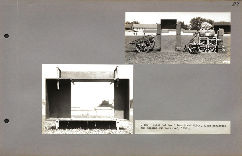 """G 128 Field Set No. 2 less Chest M.D.4, super-structure and machine-gun cart (M-2, 1931).<br /> <br /> <a href=""""http://cdm16379.contentdm.oclc.org/cdm/search/collection/p16379coll7/searchterm/cart/field/all/mode/all/conn/and/order/subjec/ad/asc"""">http://cdm16379.contentdm.oclc.org/cdm/search/collection/p16379coll7/searchterm/cart/field/all/mode/all/conn/and/order/subjec/ad/asc</a>"""