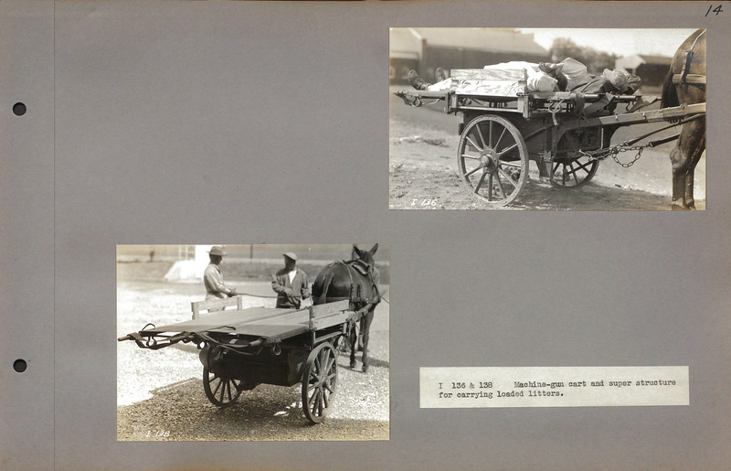 """I 136 & 138 Machine-gun cart and super structure for carrying loaded litters.<br /> <a href=""""http://cdm16379.contentdm.oclc.org/cdm/search/collection/p16379coll7/searchterm/cart/field/all/mode/all/conn/and/order/subjec/ad/asc"""">http://cdm16379.contentdm.oclc.org/cdm/search/collection/p16379coll7/searchterm/cart/field/all/mode/all/conn/and/order/subjec/ad/asc</a>"""