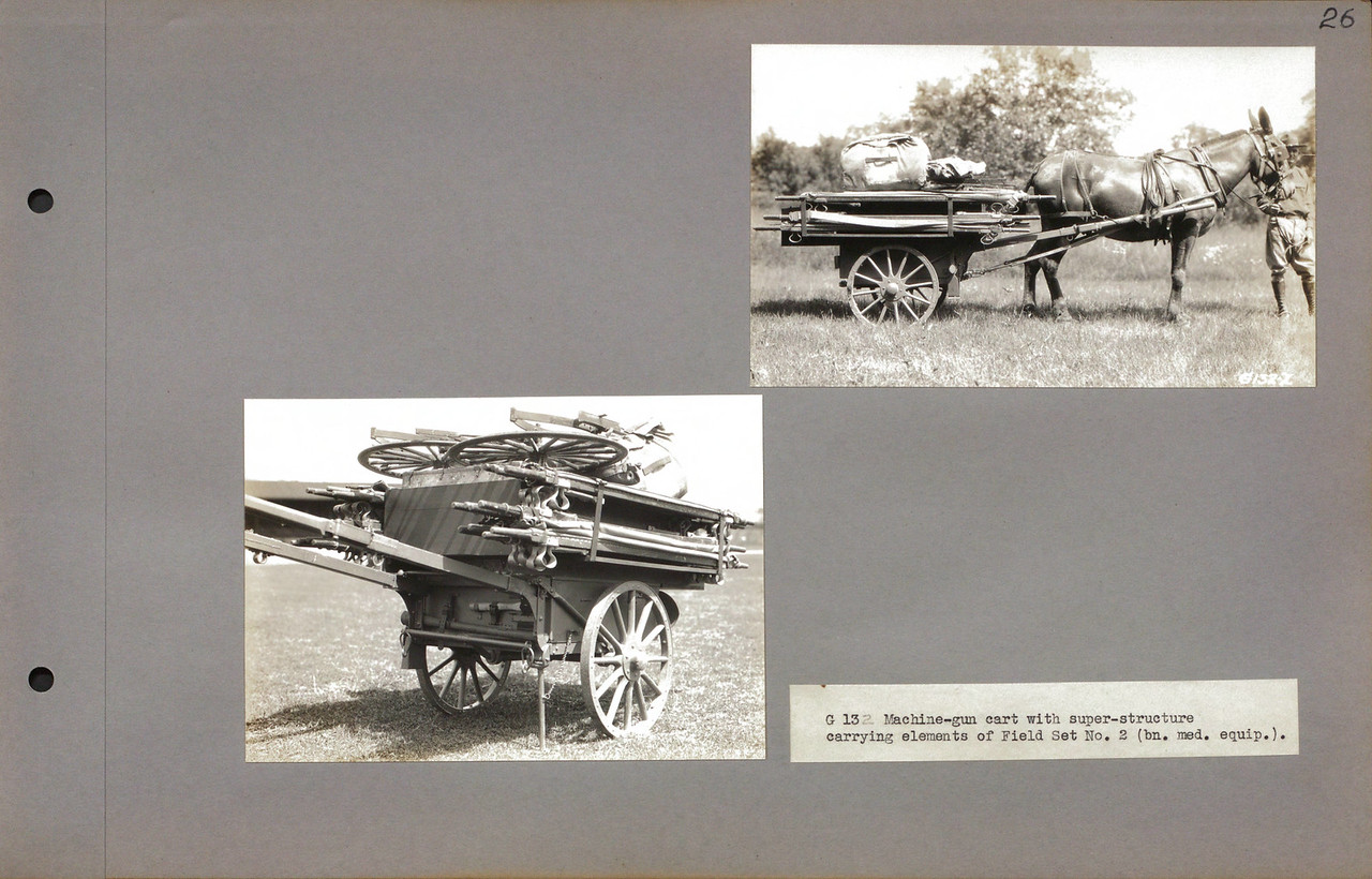 "G 132 Machine-gun cart with super-structure carrying elements of Field Set No. 2 (bn. med. equip.).<br /> <a href=""http://cdm16379.contentdm.oclc.org/cdm/search/collection/p16379coll7/searchterm/cart/field/all/mode/all/conn/and/order/subjec/ad/asc"">http://cdm16379.contentdm.oclc.org/cdm/search/collection/p16379coll7/searchterm/cart/field/all/mode/all/conn/and/order/subjec/ad/asc</a>"