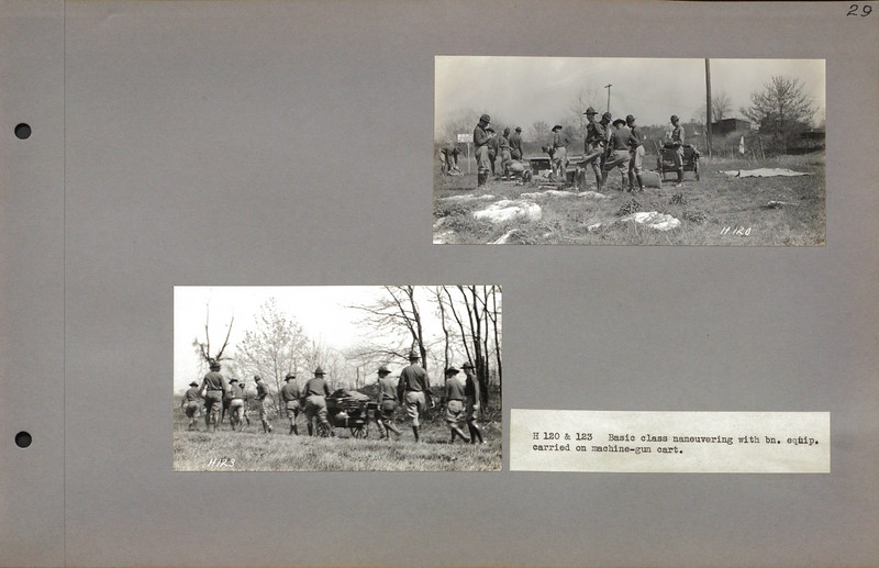 """H 120 & 123 Basic class maneuvering with bn. equip. carried on machine-gun cart.<br /> <a href=""""http://cdm16379.contentdm.oclc.org/cdm/search/collection/p16379coll7/searchterm/cart/field/all/mode/all/conn/and/order/subjec/ad/asc"""">http://cdm16379.contentdm.oclc.org/cdm/search/collection/p16379coll7/searchterm/cart/field/all/mode/all/conn/and/order/subjec/ad/asc</a>"""