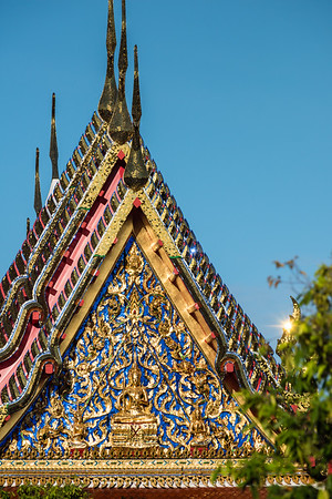 A Deity with Sword on the Pediment, Phra Vihara, Wat Arun (The Temple of Dawn)