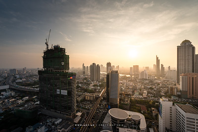 A Sunset scene of Bangkok view from Mode Sathorn