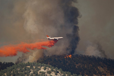DC-10 Dropping fire retardant on the Post Fire Frazier Park, Ca. 910 Tanker