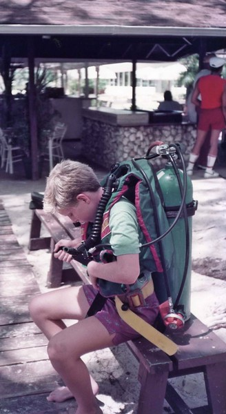 Tommy with scuba gear Grand Cayman Islands Vacation, August 18-25, 1984