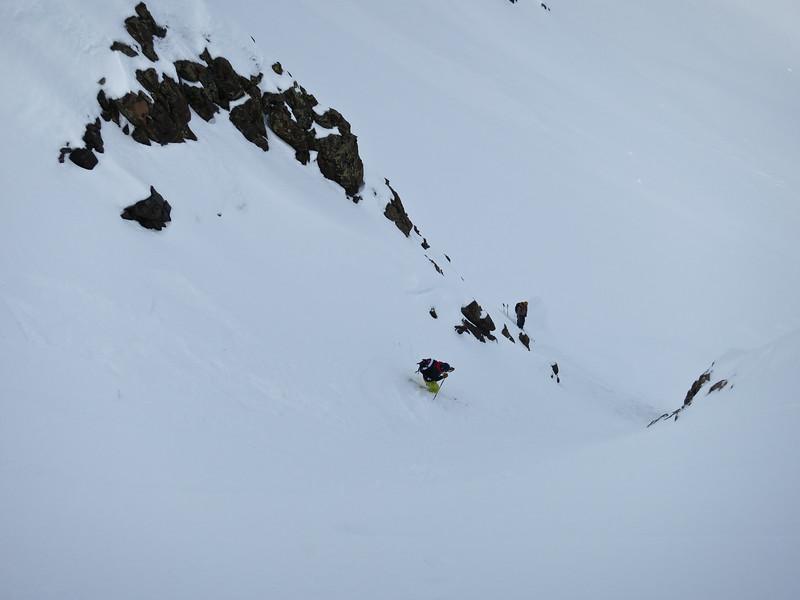 Jessi making turns down the narrow chute.