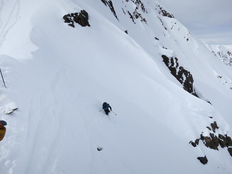 Mike making turns down the narrow chute.