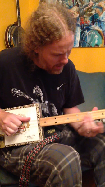 Shane Pruitt on my handmade, 3 String Cigar Box Guitar